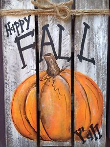HAPPY FALL Y'ALL Primitive Rustic Pallet PORCH Country Halloween Handmade Decor