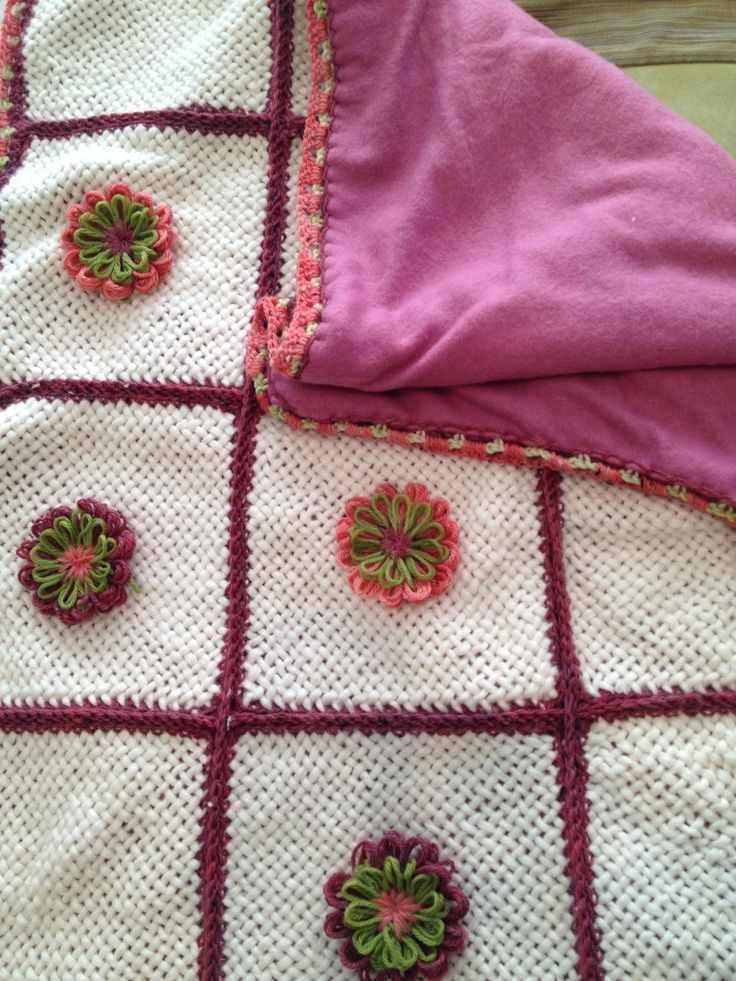 Manta telar y crochet con flores telar redondo