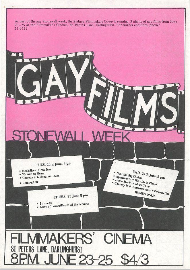 Gay Films, Stonewall Week, Sydney Filmmakers Cooperative, 1981, Ephemera Collection, Australian Lesbian and Gay Archives (ALGA)