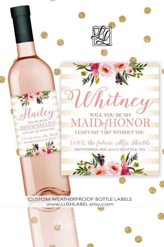 Will You Be My Bridesmaid Maid of Honor Gift Proposal Ask Flowers Stripes Wine…
