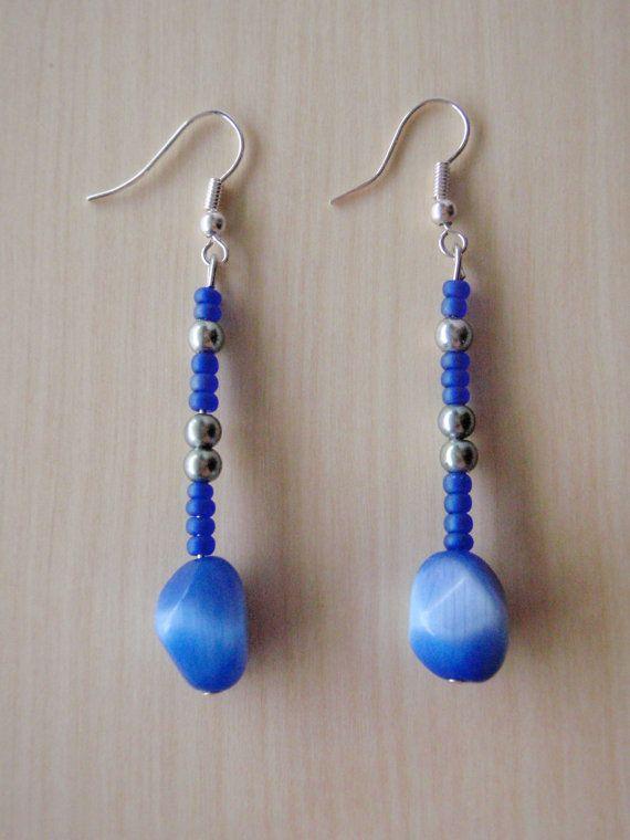 Dark Blue earrings with dark blue cat's eye by RosemarysJewellery