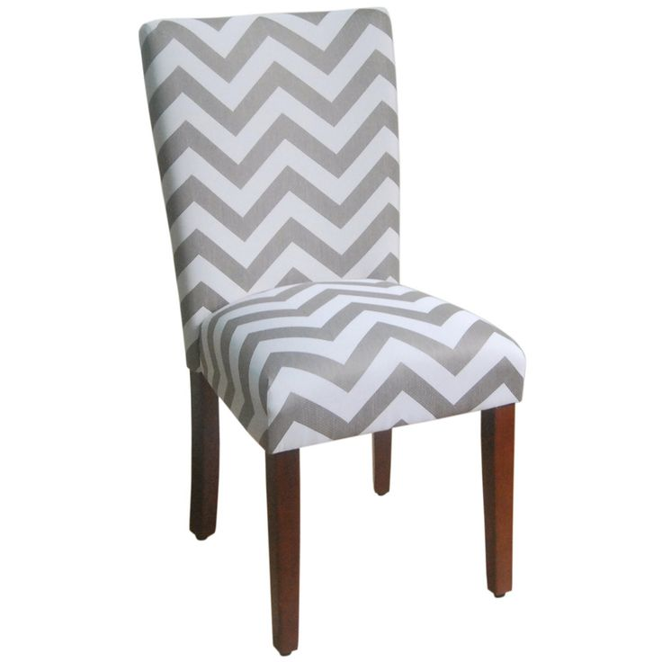 You'll love the way your dining room looks with the addition of these two (2) stylish grey and white chevron dining chairs.