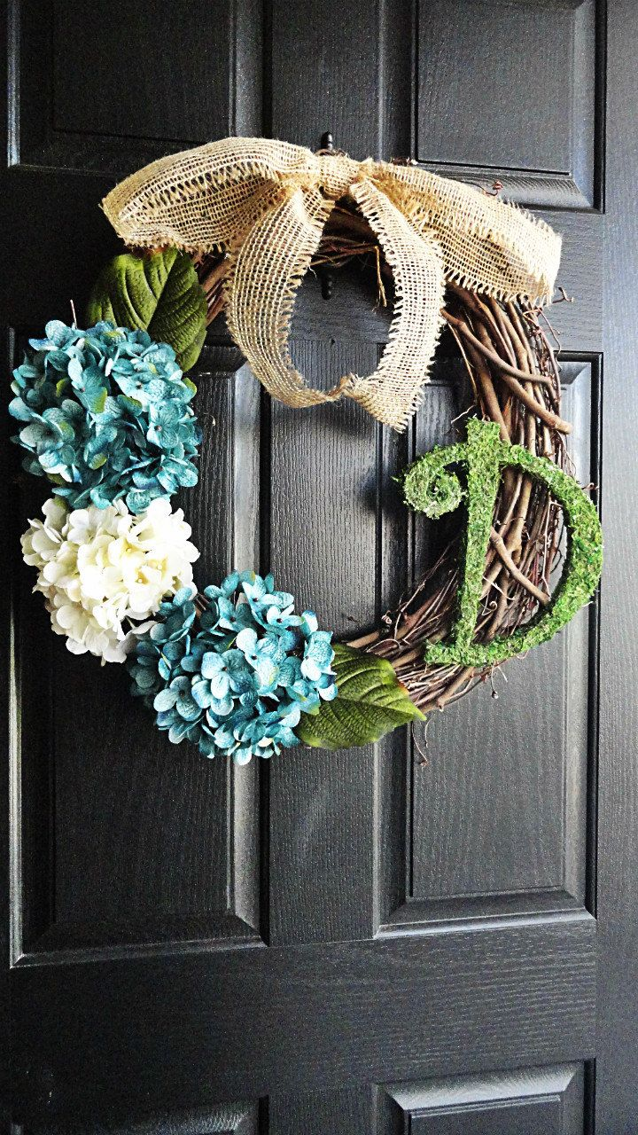 Lovely Blue and White Hydrangea Wreath With Moss Monogram and Burlap Bow.