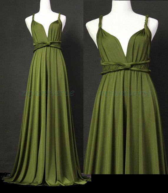 Sage Bridesmaid Dress Olive Green Infinity Dress Wrap Convertible Dress Jersey Formal Dress Gown