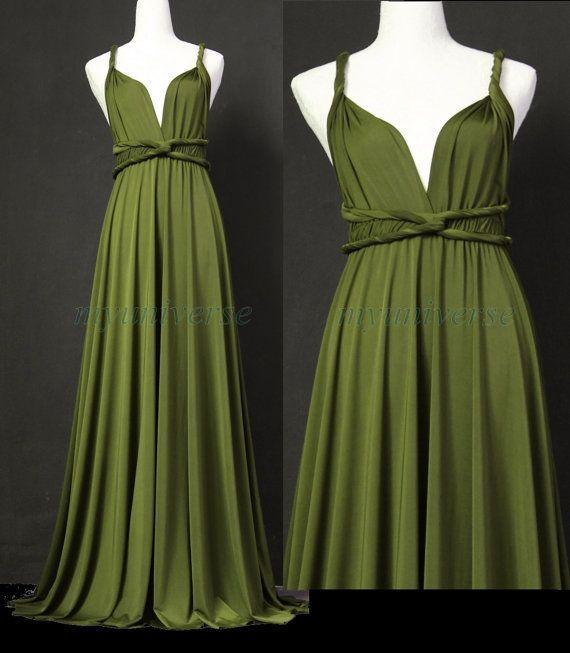 Sage Bridesmaid Dress Olive Green Infinity Dress Wrap Convertible Dress Jersey…