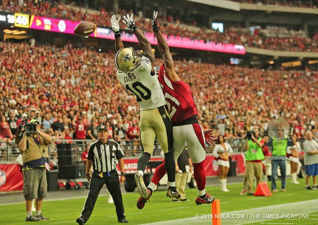 What should the New Orleans Saints do to score more TDs in the red zone? - By Christopher Dabe, NOLA.com | The Times-Picayune  - New Orleans Saints wide receiver Brandin Cooks (10) can't get a touchdown as Arizona Cardinals cornerback Patrick Peterson (21) defends during the game between the New Orleans Saints and Arizona Cardinals at University of Phoenix Stadium in Glendale, Arizona on Sunday, September 13, 2015. (Photo by Michael DeMocker,