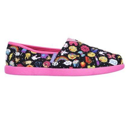 Skechers Kids' Solestice Emoji Girl Slip On Pre/Grade School Shoes (Black/Multi)