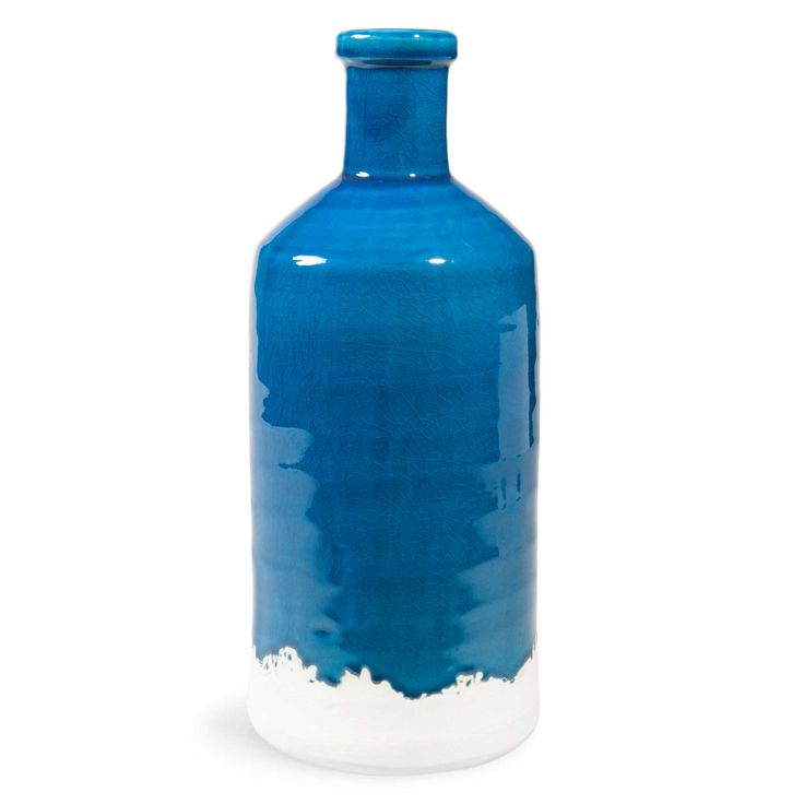 Jarrón de cerámica azul Al. 35cm MATERMANIA