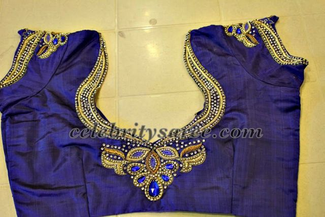 royal blue aari work