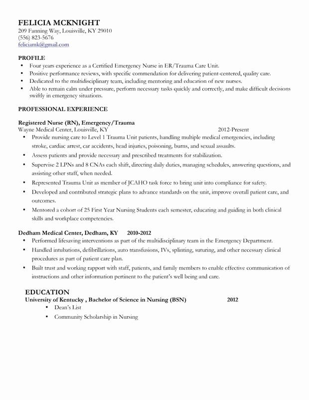 New Grad Nursing Resume Clinical Experience Elegant Mid Level Nurse Resume Sample Nursing