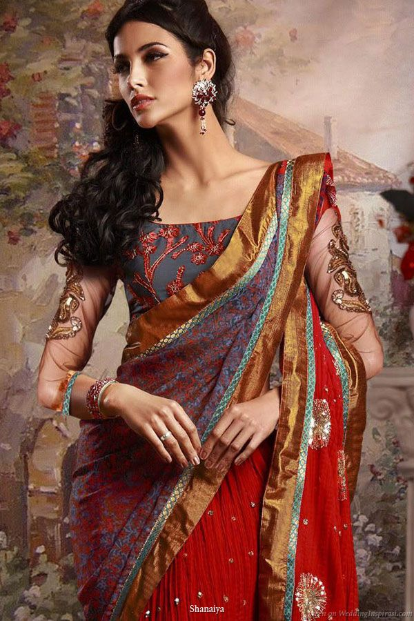 Regal tones - Deep jewel colors on a beautiful bridal saree from Shanaiya 2010 collection ( I like the sleeves)