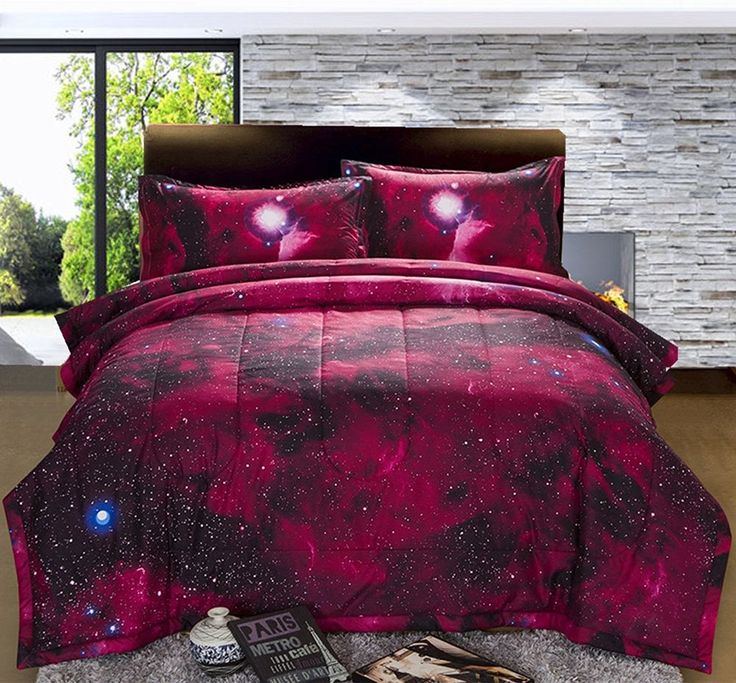 3D Galaxy Queen Size Bed  Cover Sky Cosmos Printed Space Quilt Pillow Case Sheet #ANiceNight