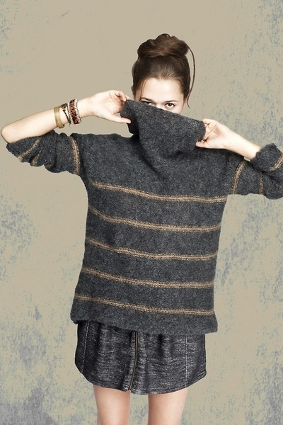 I'd love to make this one.  oversized, drop shoulder, cowl neck, thin stripes