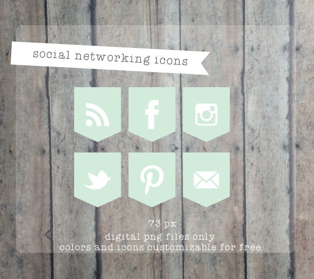 Social Media icons Social Networking Icons - Round web buttons Blog buttons - website icons. $10.00, via Etsy.