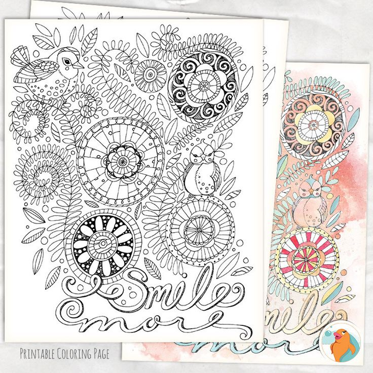 Adult Coloring Page Smile More Instant Download Colouring Printable DIY Print