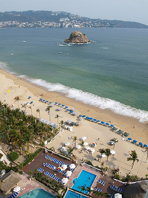 Overlooking the beach in Acapulco Bay. Acapulco, MEXICO.