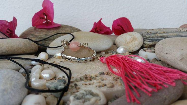 genuine seaglass pendant authentic sea glass necklace handmade boho pink tassel,trendy boho necklace,ready to ship,OOAK,Aegean sea glass by SueEllenDreamland on Etsy