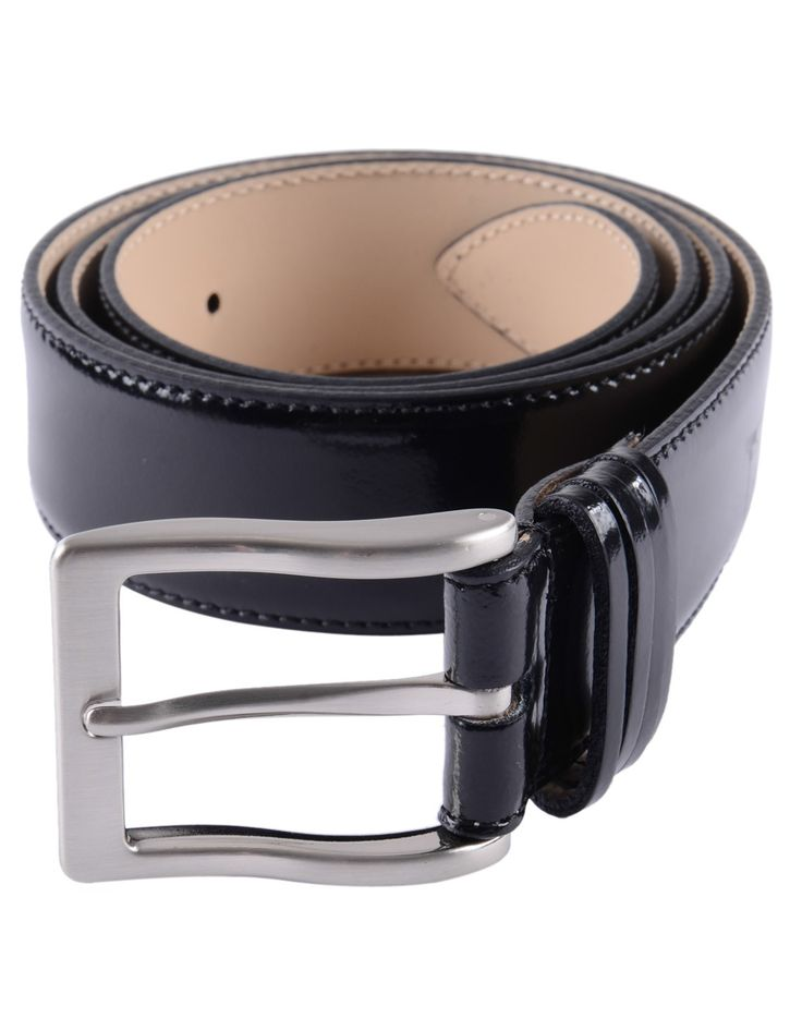 Post and Co. | Abrasivato Leather Belt | Black Shine | Accent Clothing