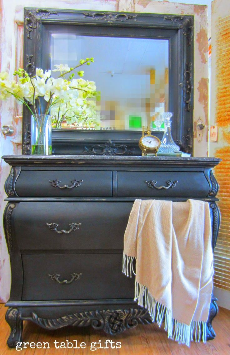 Beautiful Dresser And Mirror Set Painted With A Mix Of Coco With Graphite  Chalk Paint® Finished With Dark Chalk Paint® Wax