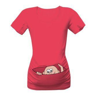 Těhotenské triko s potiskem mimino v kapse. Můžete si ho obléknout do práce i ve volném čase. Kromě bavlny obsahuje také elastan.
