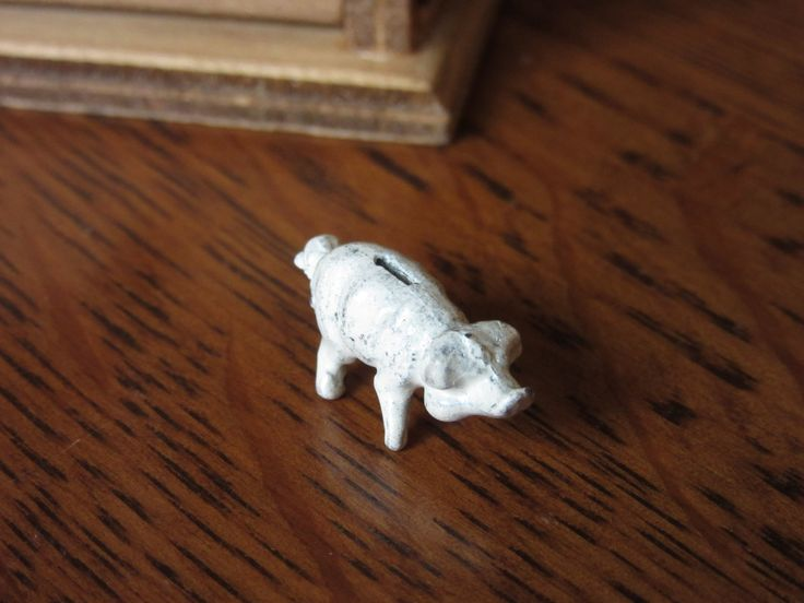 Vintage Micro Lead Piggy Bank, Collectible Figurine, Farm Animal, Tiny, Miniature Pig, Dollhouse Accessory, Doll House Childrens Bedroom Toy by BarefootAndCivil on Etsy