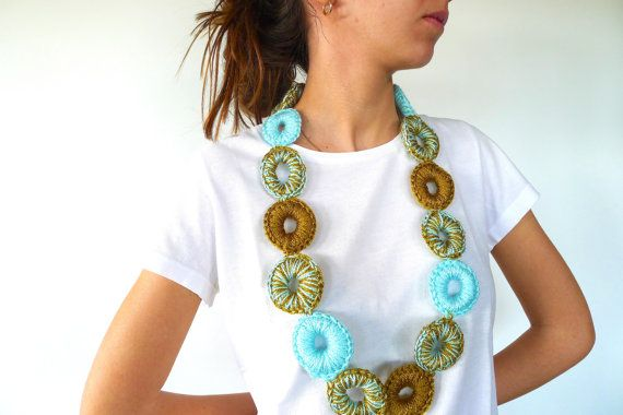 Long statement necklace | Crochet necklace in aqua and olive green | Unique…