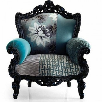 A vintage type, swirly, patchworked armchair. Well, don't mind if I do!! (I adore all the sofas, chaises and chairs in the post, actually. I just liked the blue with the black in this one a liiiiittle bit more.)
