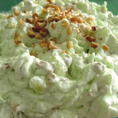 PISTACHIO PUDDING Salad 1 	(3½ ounce) package instant pistachio pudding mix 1 	(20 ounce) can crushed pineapple with juice, undrained 1 	cup miniature marshmallow ½ 	cup chopped nuts 2 	cups thawed non-dairy whipped topping  STIR pudding mix, pineapple with juice, marshmallows and nuts in large bowl until well blended. GENTLY stir in whipped topping.