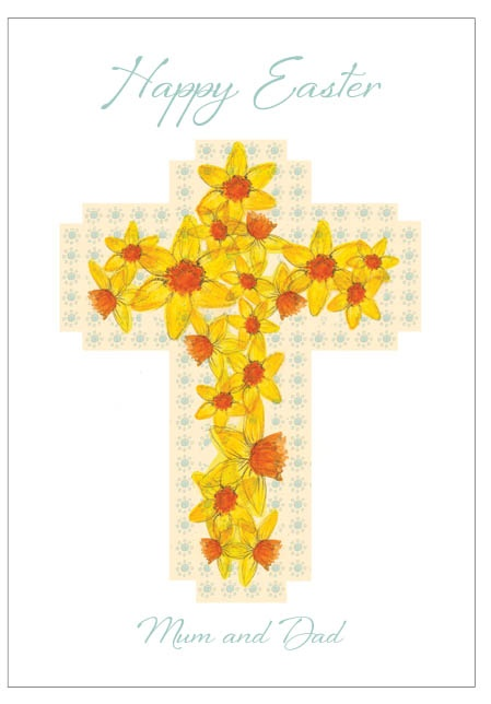 Daffodil Cross - personalised individual Easter card