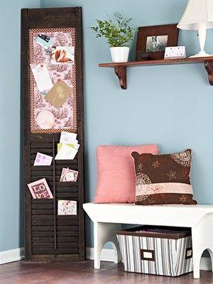 Shutter repurpose for kitchen or office bulleton board - I love shutters!