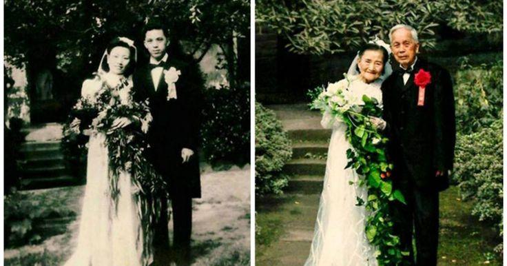 Wang Deyi, de 98 años , y Cao Yuehua, de 97 años, celebraron su 70 aniversario de feliz matrimonio luego de haberse casado en Chongging en 1945. Sus 4 hijos son realmente felices de ver como sus padres siguen tan enamorados como en el día de su boda y es por esta razón que los ayudaron a recrear este momento para que fuera una celebración aún más especial.