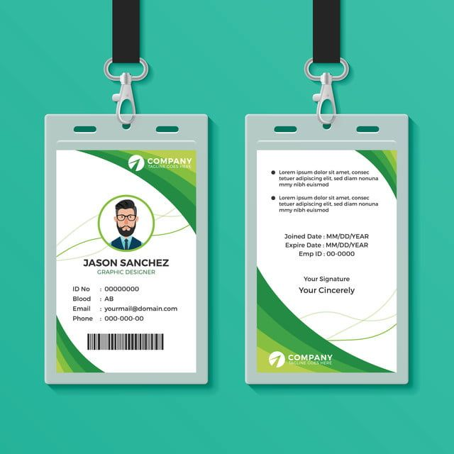 Id Card Identity Corporate Business Design Template Green Mockup Background Access Authentication Badge Emplo Identity Card Design Id Card Template Card Design