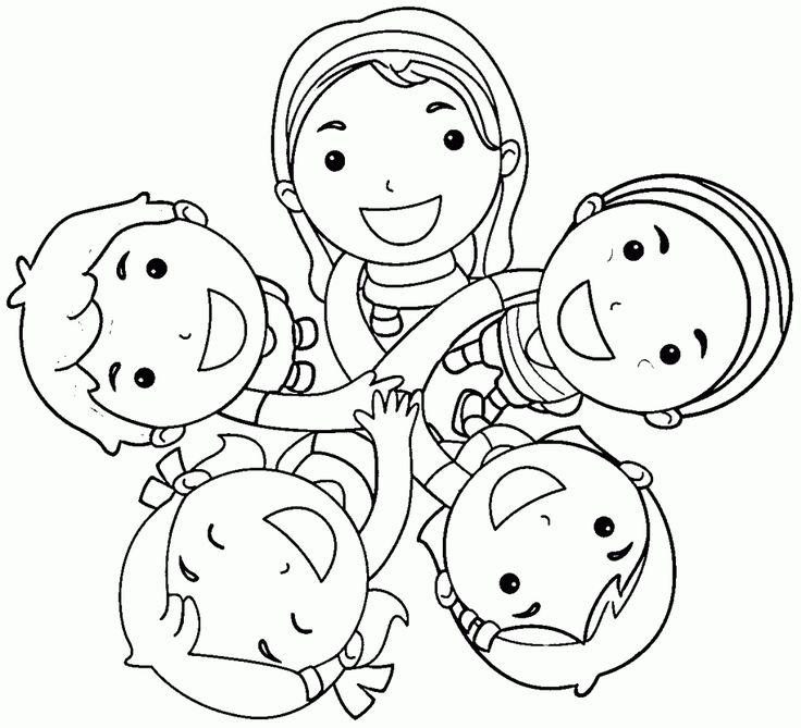 Картинки раскраски дети в кругу