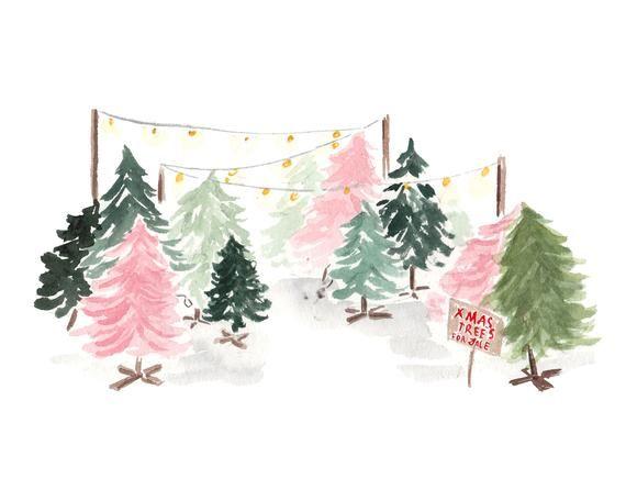 Christmas Trees Art Print Tree Illustration Pink Christmas Tree 1950 S Christmas Decor Vintage Holiday Vintage Christmas Mid Century In 2020 Pink Christmas Tree Christmas Prints Pink Christmas