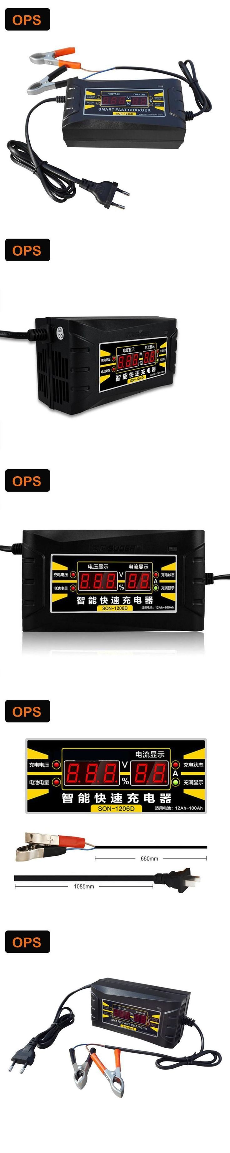 LCD Display  12V 6A  Automatic Smart repair Lead Acid Battery Charger For Car/ Motorcycle&lood-zurr desulfator acculader