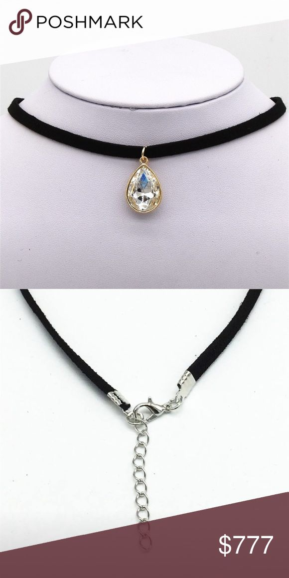 Coming Soon! Black Velvet Choker Necklace Black velvet leather choker necklace with water drop jewel pendant. $10 when they arrive Jewelry Necklaces