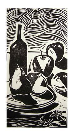 Still-life with fruits and wine bottle - linoleum cut print, 1992 Jorge Luis Somarriba