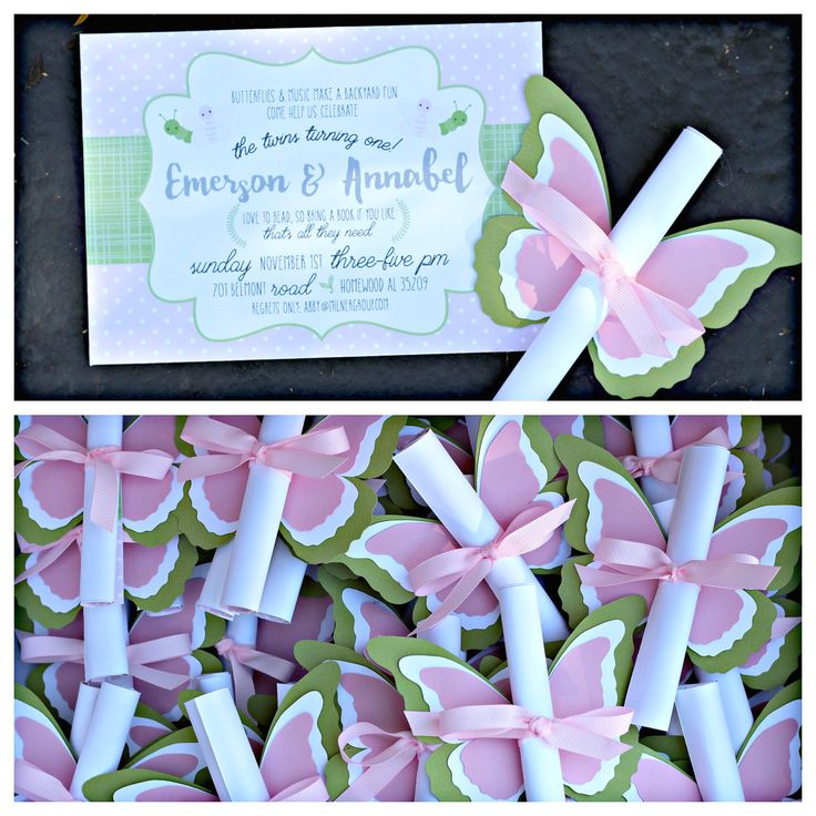 Pink and Green Butterfly Invitations by Charming Touch Parties.  20, boutique die cut invitation scrolls. Fully assembled with envelopes. by CharmingTouchParties on Etsy