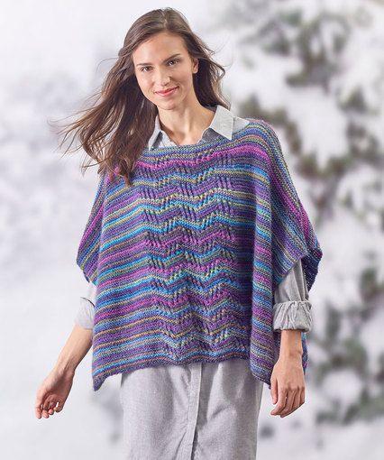 ab0141e6c Lace Panel Knit Poncho Free Knit Poncho Pattern