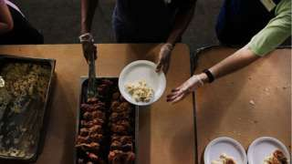 Meals are served at the Broad Street Ministry, (BSM) which serves thousands of free meals five days per week while also providing the homeless with a mail centre, a clothes mending facility, counselling and medical screenings for the homeless and those that are in financial distress on July 27, 2016 in Philadelphia,