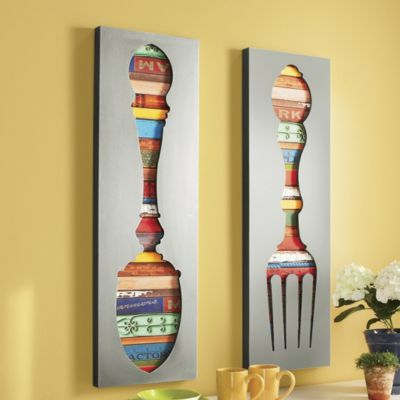 Fork and Spoon Wall Art I bet we could make something similar by using some of dad's old cookbooks or something.