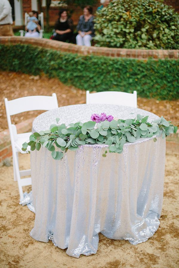 Silver Metallic Sweetheart Table With Eucalyptus | Red Fly Studio https://www.theknot.com/marketplace/red-fly-studio-thomasville-ga-391967 | Pebble Hill Plantation | Amanda Blackwood Events | Amanda Boyd | At Last Florals
