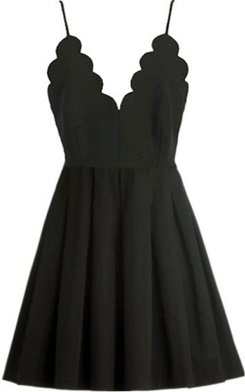 Scalloped little black dress love!
