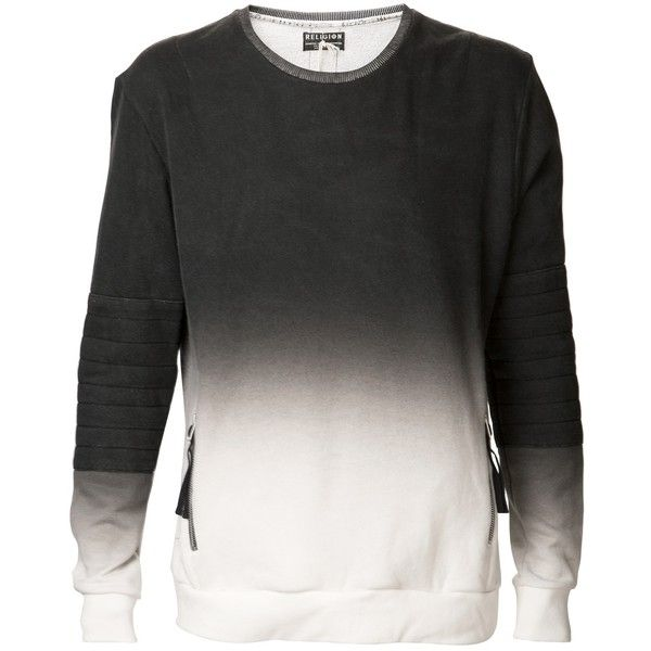 RELIGION 'Blackall' ombre fade sweatshirt ($123) ❤ liked on Polyvore featuring men's fashion, men's clothing, men's hoodies, men's sweatshirts and tops