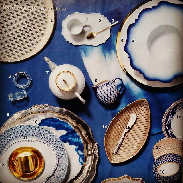 """Takie cuda w najnowszych """"Czterech kątach"""". Lubicie połączenie koloru niebieskiego  ze złotym? #czterykaty #czterkąty #niebieski #ceramika #porcelana #złoty #biały #czasopismo #magazyn #blog #wnetrza #wnętrza #aranzacje"""