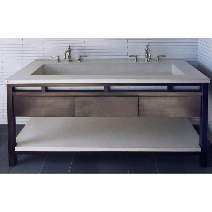 Betonas Concrete Double Trough Sink Amp Base Three Drawer