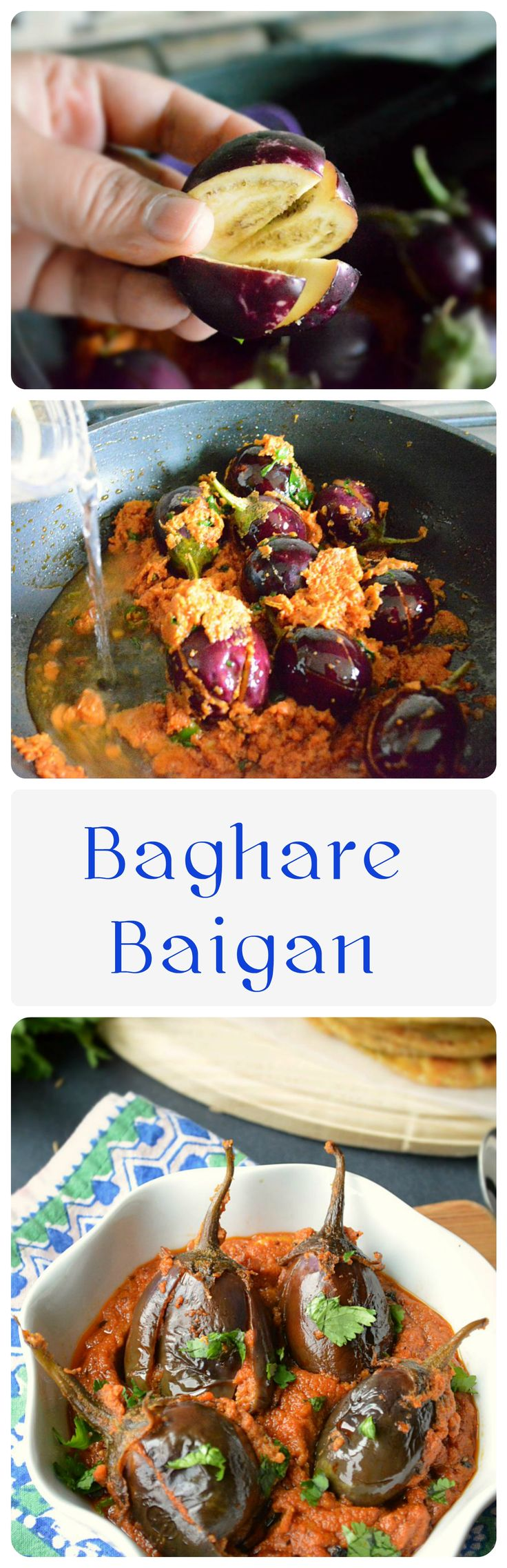 """A specialty of #Hyderabadi #Cuisine – #Baghare #baigan. #Baghar means #tadka/tempering and baigan is referred to as #eggplants meaning """"Eggplants cooked with a tadka"""". #bagharebaigan #vegan #vegetarian #dinner #stuffedeggplant  #eatfresh #indianfoodie #indianrecipes #indianfood"""