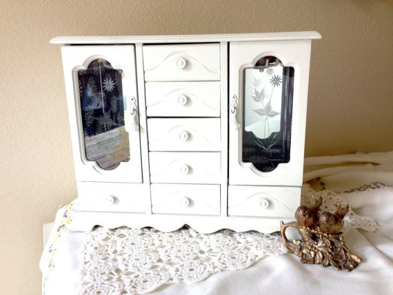 Cottage Chic Vintage White Jewelry Box with Drawers and New Navy Dandelion Fabric Lining on Etsy, $55.00