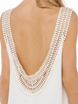 White Disc Trim Open Back Vest Dress | Choies