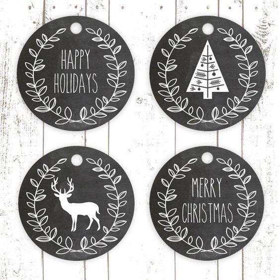 Christmas Chalkboard Gift Tags Printables: